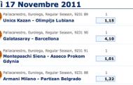 Eurolega basket - scommesse live di giovedi 17 novembre 2011