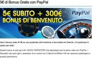 Bonus slot di ulteriori 5 euro con paypal