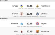 Pronostici quarti Champions League 2012 - andata