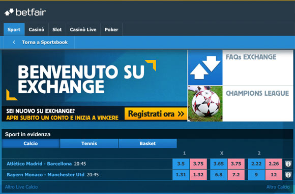 betting exchange italia