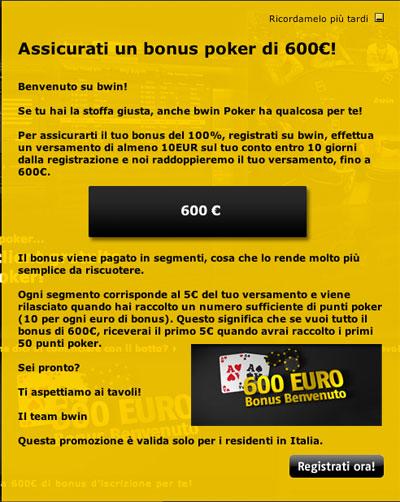 bonus poker 600 euro