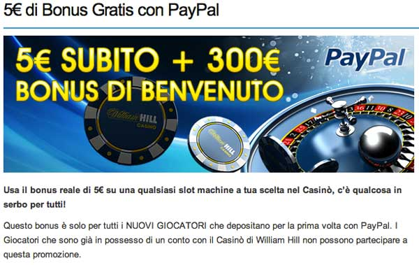 bonus slot con paypal