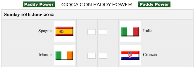Scommesse gruppo C Euro 2012