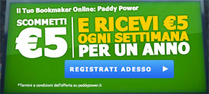 Paddy Power 5 euro