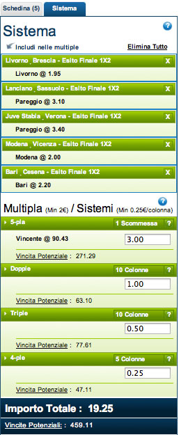 giocare un sistema scommesse su william hill