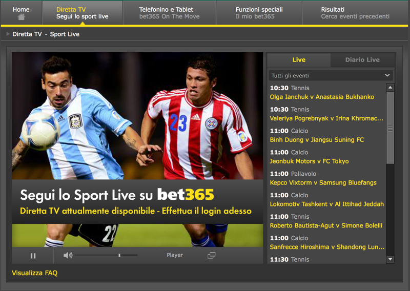 streaming calcio bet365